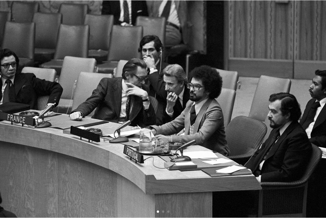 Future Timorese President José Ramos Horta (second from right) addresses the Security Council as representative of FRETILIN, the Revolutionary Front for Independence of East Timor, in December 1975.   Long an item in the UN's decolonization agenda, Timor-Leste was the last Non- Self-Governing Territory to gain independence. December 15, 1975. UN Photo